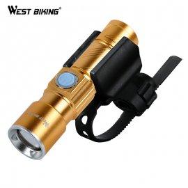 Svetlo na bicykel s uchytením WEST BIKING Zoom CREE Q5 Ultra svietivá LED 200m, USB nabíjanie