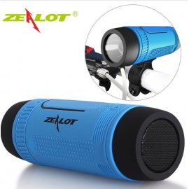 Zealot S1 Subwoofer Bass Wireless Speaker + Bike Flashlight + Power Bank 4000mAh, Water Resistant, FM, BT 4.0 Micro SD