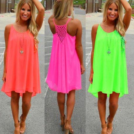 Letní šaty Women beach dress fluorescence 2018