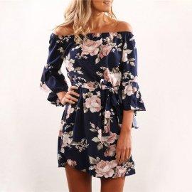Dámské šaty Sexy Off Shoulder Floral Print Boho Style Beach Dress /Poštovné ZDARMA!