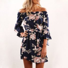 Womens Dress Sexy Off Shoulder Floral Print Chiffon Dress Boho Style