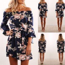 Dámské šaty Sexy Off Shoulder Floral Print Chiffon Dress Boho Style