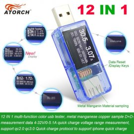 USB Current & Voltage Tester, Voltmeter, Ampermeter, 12in1