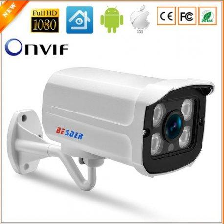 Bezpečnostní IP kamera BESDER, 1080P širokoúhlá 2.8mm, 30M noční vidění, kov, ONVIF, voděodolná, venkovní/vnitřní