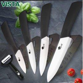 """Sada Kvalitných keramických nožov VISTA Zirconia Blade, súprava 3 """"4"""" 5 """"6"""" + škrabka + kryty ostrie"""