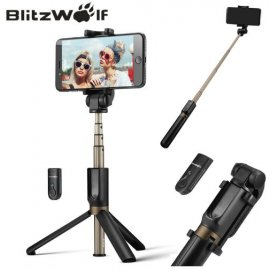Kvalitné Selfie tyč BlitzWolf, Bluetooth 3v1, trojnožka, teleskopická, DO, univerzálne iphone 6 7 8 plus Android Gopro atď.