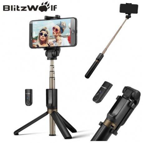 Kvalitní Selfie tyč BlitzWolf, Bluetooth 3v1, trojnožka, teleskopická, DO, univerzální iphone 6 7 8 plus Android Gopro atd.