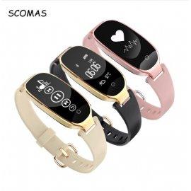 Nádherné dámské chytré hodinky SCOMAS S3, fitness, srdeční tep, monitor spánku, notifikace, krokoměr, BT atd.