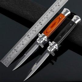 Kvalitní skládací nůž, kapesní nožík, dřevěná rukojeť