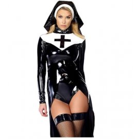 Sexy nun costume, black vinyl