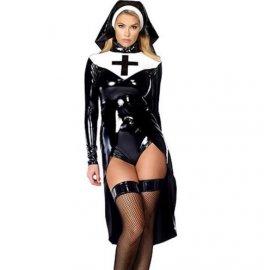 Sexy kostým Jeptiška, černý vinyl
