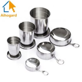 Stainless steel folding cup for outdoor camping survival 75ml 150ml 250ml