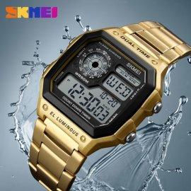 SKMEI Pánske manažérske hodinky, nerez oceľ, vodotesné, alarm, stopky, podsvietenie / Poštovné ZADARMO!