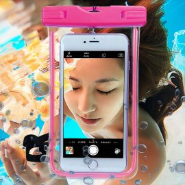 "Waterproof case for phones up to 6 "", lanyard shines in the dark"