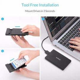 "Externí box pro 2.5"" SATA HDD, USB 3.0 + pouzdro + kabel"