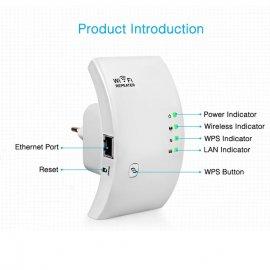 2.4Ghz WiFi repeater zosilňovač AP 802.11b / g / n až 300Mbps, 1x LAN