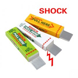 Electric chewing gum, prank