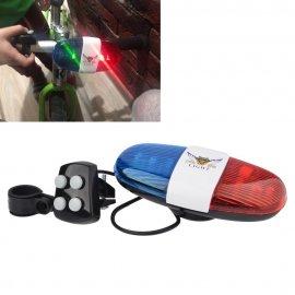 Detská blikačka POLÍCIA + elektronický zvonček na bicykel, 4 sirény 6 LED