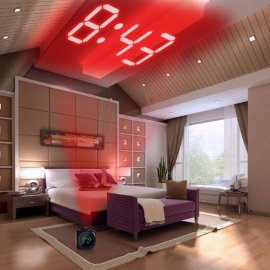Projection Digital Alarm Clock with Large LED Display / Temperature / Date