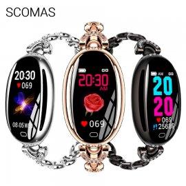 Nádherné dámske chytré hodinky SCOMAS SE68, IPS displej, IP67, fitness, srdcový tep, monitor spánku, notifikácia, krokomer atď.