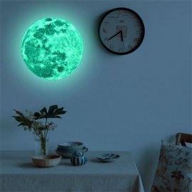 Měsíc svítící ve tmě, dekorace na zeď pro dětské pokoje, obýváky atd. 3D měsíc 20cm