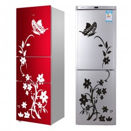 Decorative sticker on fridge or wall, flower and butterfly