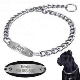 Škrtící obojek, řetěz pro tréning psů s Vámi zvolenou jmenovkou a telefonním číslem