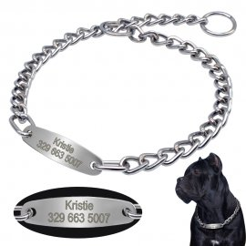 Throttle collar, dog training chain with your chosen name and phone number