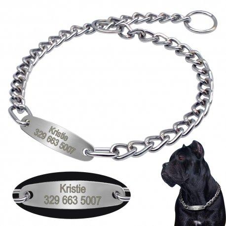 Škrtící obojek, řetěz pro psy s Vámi zvolenou jmenovkou a telefonním číslem