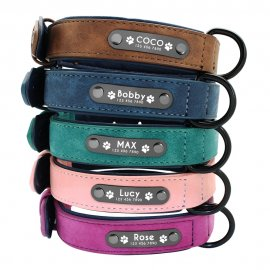 High quality leather dog collar with your name tag and phone number