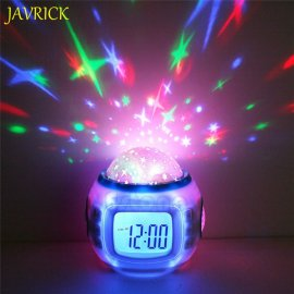 Children's night light and clock with starry sky projection with melodies, alarm clock, LED backlight, thermometer