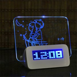 Clock with message board, pen, 4xUSB HUB, Alarm 16 melodies, Calendar, Stopwatch, Minute