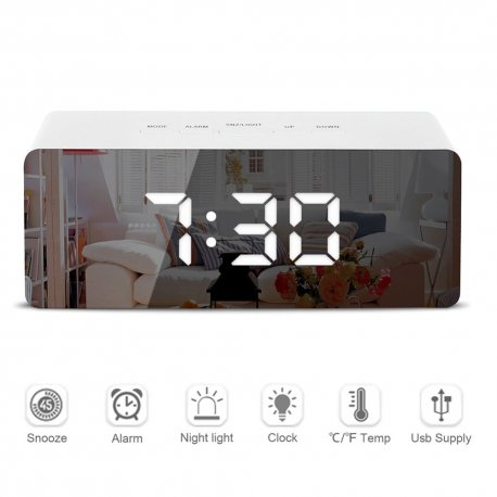 Zrcadlové hodiny s budíkem a velkým LED displejem / teplota / datum