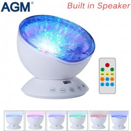 Sea Level Projector LED Night Light, 7 Mod, USB, Sound, DO