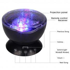 Projektor mořské hladiny LED noční světlo, 7 modu, USB, zvuk, DO /poštovné ZDARMA!