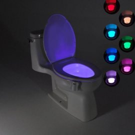 LED automatické nočné svetlo na WC, 8 farieb, pohybové čidlo, uchytenie na misu