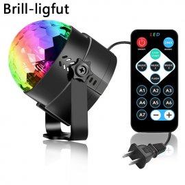Disco guľa / laserový rotačný projektor, bliká v rytme hudby 3W RGB LED EÚ, DO