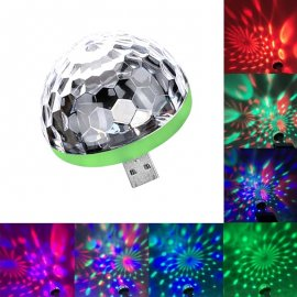USB Mini Disco guľa pre PC mobily, alebo do USB nabíjačky - reaguje na rytmus hudby / Poštovné ZADARMO!