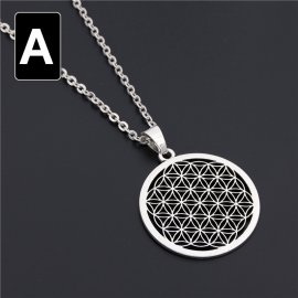 Pendant with chain of ancient Flower of Life - FREE Shipping!