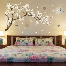 Beautiful decoration - 187x128cm large flowering tree on the wall, DIY sticky