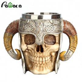 Quality stainless steel beer mug with which you will attract attention! Viking Ram Warrior