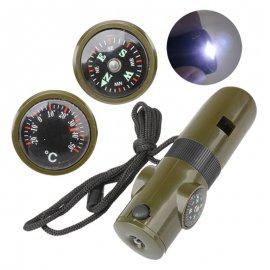 Survival píšťalka 7v1, teplomer, kompas, lupa, zcátko, LED svetlo, outdoor, survival, armádny zelená
