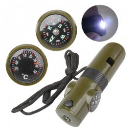 Survival whistle 7in1, thermometer, compass, magnifier, pigtail, LED flashlight, outdoor, survival, army green