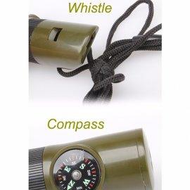 Survival píšťalka 7v1, teploměr, kompas, lupa, zcátko, LED svítilna, outdoor, survival, armádní zelená /Poštovné ZDARMA!