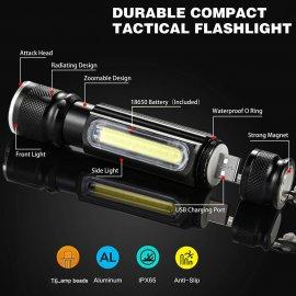 Multifunkční LED svítilna s USB nabíjením, magnetem a 4 mody, 1*T6 LED +1*COB LED /Poštovné ZDARMA!