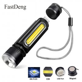Multifunction LED flashlight with USB charging, magnet and 4 modes, 1 * T6 LED + 1 * COB LED