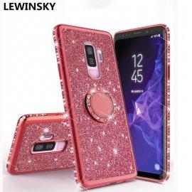 Luxusní diamantové pouzdro pro Galaxy S9 S8 A7 A6 A8 S10 Plus 2018 Note 9 8 A50 S7, kroužek, silikon