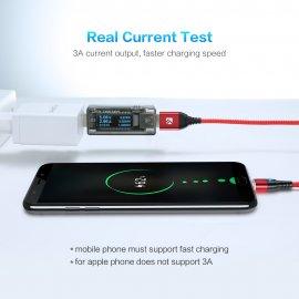 FLOVEME Magnetický rychlonabíjecí kabel USB Typ C/Micro USB/iPhone, 3A, Data, Nylon, LED indikace /Poštovné ZDARMA!
