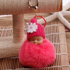 Keychain Sleeping baby with flower, keychain