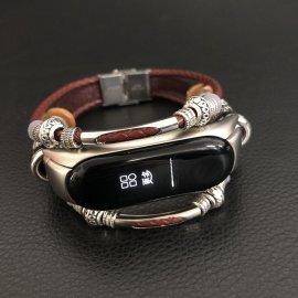 Kožený ozdobný náramek pro Xiaomi Mi Band 3, kůže a ocel /Poštovné ZDARMA!